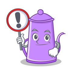 with sign purple teapot character cartoon vector image