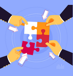 working together to uniting puzzle piece vector image