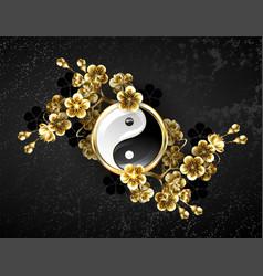 yin yang symbol with golden sakura vector image