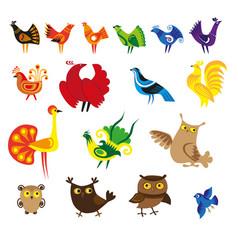 cartoon bird set vector image
