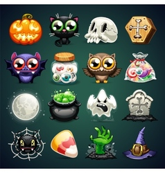 Halloween Cartoon Icons Set vector image