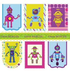Set of Tags - Cute little Robots vector image