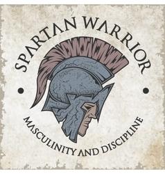 Spartan warrior Emblem vintage style vector image