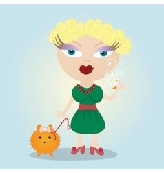Woman girl and a little dog vector image