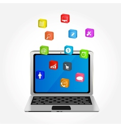 Computer with icons vector image vector image