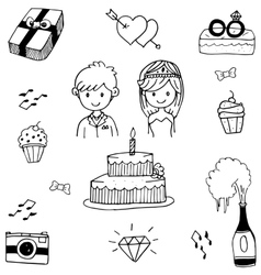 Doodle of weding party vector