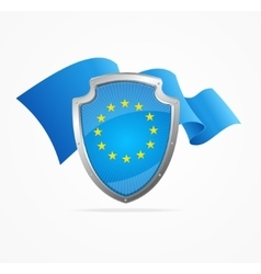 European Union Flag and Shield vector image vector image
