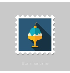 Ice Cream flat stamp Summer Vacation vector image
