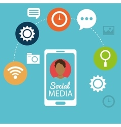 mobile phone man social media networking vector image vector image