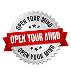 Open your mind 3d silver badge with red ribbon vector