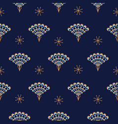 peacock fan seamless blue pattern vector image vector image
