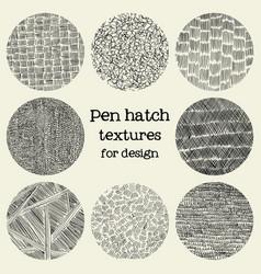 pen hatch round grunge textures vector image