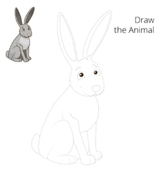 Draw the forest animal hare cartoon vector image vector image