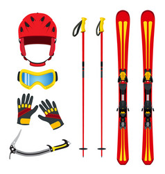 Equipment for skiing snowboarding mountain hiking vector