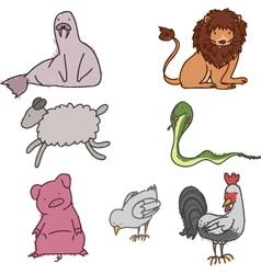Hand drawn animals vector image