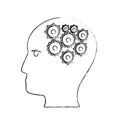 head human gear creativity sketch vector image vector image