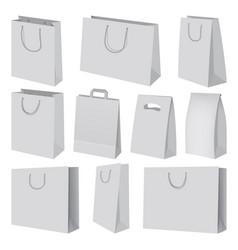 paper bag mockup set realistic style vector image vector image
