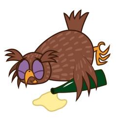 set isolated emoji character cartoon drunk owl vector image vector image