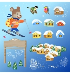 Vintage Winter Card Design Elements vector image