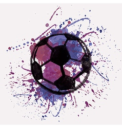 with watercolor soccer ball and splash vector image