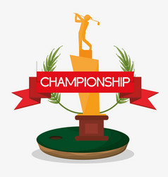 championship trophy golf banner vector image vector image