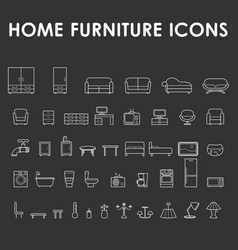 home furniture outline icons vector image