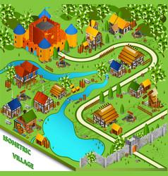 Medieval Village Isometric Landscape vector image