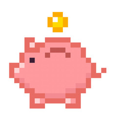 piggy bank money pixel art cartoon retro game vector image