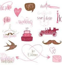 romantic wedding design elements -for invitation s vector image vector image