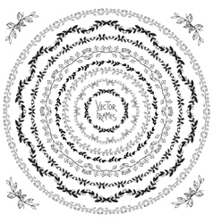 Set of decorative floral round frames and corner vector image vector image