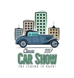 Vintage car show label design Classic auto badge vector image vector image