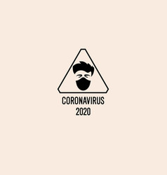 a man in a protective medical mask warning sign vector image