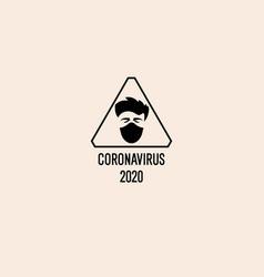 a man in protective medical mask warning sign vector image