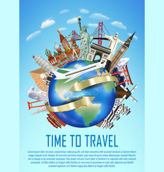 a real travel landmark around world vector image