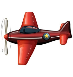 A red vintage plane vector image