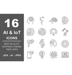Artificial intelligence related icon ai vector