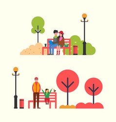 Autumn people spending time on red bench vector