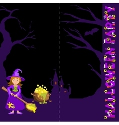 Background with witch spoon and magic pot castle vector image