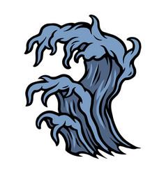 Big sea wave colorful tattoo template vector