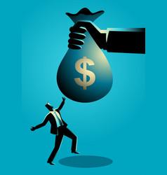 businessman receiving a huge money bag vector image