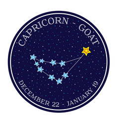 Capricorn zodiac constellation round icon vector