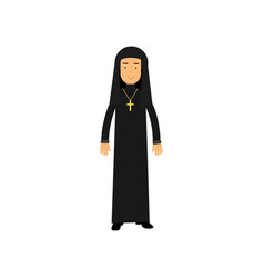 cartoon character of catholic nun in traditional vector image