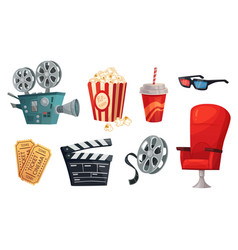 cartoon cinema elements movie theater popcorn vector image