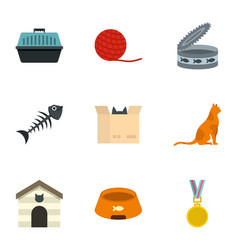 cat house icons set cartoon style vector image