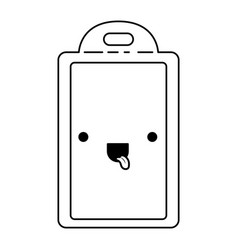 chopping board utensil monochrome kawaii vector image