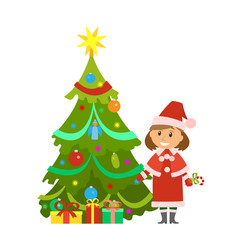 christmas holidays pine tree and snow maiden woman vector image