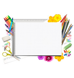 concept back to school with notepad vector image