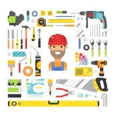 Construction equipment tools flat icons set vector