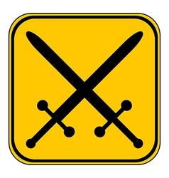 Crossed swords button vector image