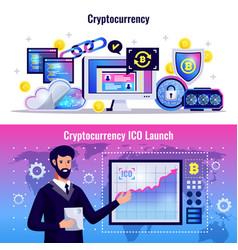 Cryptocurrency horizontal banners vector